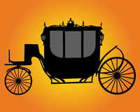 Brougham. Black silhouette brougham on a orange background Stock Image