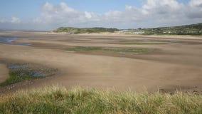 Broughton Bay beach the Gower peninsula South Wales UK near Rhossili beach PAN stock video