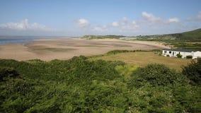 Broughton Bay the Gower peninsula South Wales UK near Rhossili beach stock footage