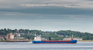 Broughty Castle Dundee & Passing Ship royalty free stock photo