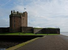 Broughty Ferry Castle  in Edinburgh. Fortified castle on the coast in Edinburgh Stock Photos