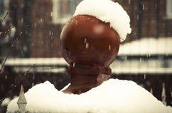 Brouillé, le porte-courrier s'est recroquevillé par la neige, tempête d'hiver image libre de droits