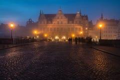 Brouillard dans la ville de Danzig Photos stock