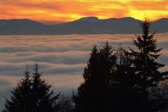 Brouillard de coucher du soleil de Vancouver Photos stock