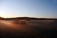 Brouillard de matin au champ Images libres de droits