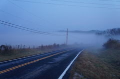 Brouillard de matin au-dessus de route Photos stock