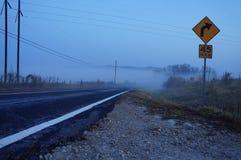 Brouillard de matin au-dessus de route Images libres de droits