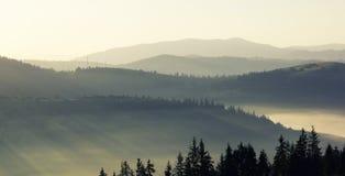 Brouillard de matin au lever de soleil dans les montagnes Photographie stock libre de droits