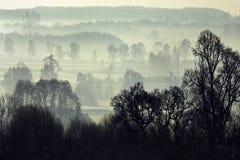 Brouillard de matin - Yorkshire du nord - Angleterre images stock