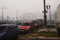 Brouillard enfumé à Moscou Photographie stock libre de droits