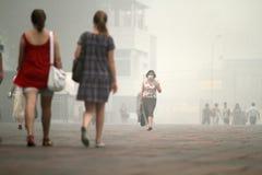 Brouillard enfumé dans la région de Moscou et de Moscou. Photos libres de droits
