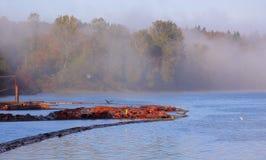 Brouillard sur la rivière Photographie stock