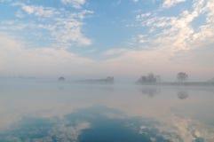 Brouillard sur le canal d'aviron Rostov-On-Don Russie Photographie stock libre de droits