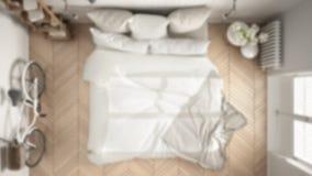 Brouillez la chambre à coucher moderne de conception de fond, blanche et grise intérieure W illustration libre de droits