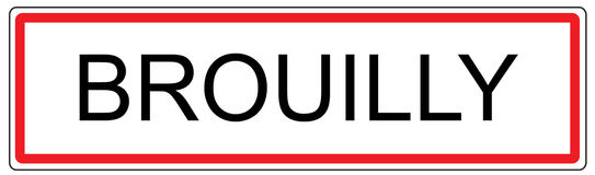 Brouilly city traffic sign illustration in France Stock Photo