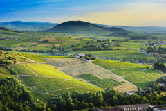 Brouilly hill and vineyards with morning lights in Beaujolais land, France royalty free stock photography