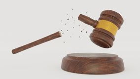 Brouken Judge Wood Hammer on white background. When the laws do not work. 3D Gavel. Render. Brouken Judge Wood Hammer on white background. When the laws do not stock photos
