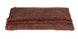 Broun bath towel on white background. Broun bath towel. Isolation on white background stock photo