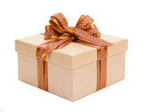 Broun box with gifts and bow on white background. Broun box with gifts and bow isolated on white background stock image