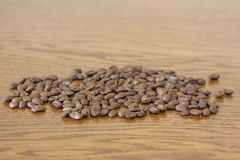 Broun coffee beans isolated on brown wooden texture background. Broun coffee beans isolated on brown wooden background stock photography