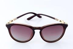 Broun Fashion sunglasses on white background. Fashion summer sun protected sunglasses on white background stock photo