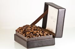 Broun leather box full of coffee seeds isolated Royalty Free Stock Photography