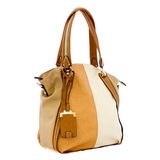 Broun and white lady bag. The image of broun and white lady's bag under the white background royalty free stock photos