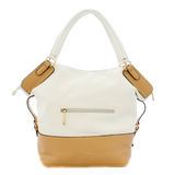 Broun and white lady bag. The image of broun and white lady's bag under the white background royalty free stock photo