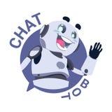 Broutement de robot de Modile APP d'icône de Bot de causerie ou concept virtuel de service de support technique de Chatterbot illustration libre de droits