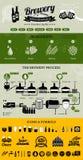 Brouwerijinfographics met bierelementen & pictogrammen Stock Foto