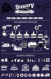 Brouwerijinfographics met bierelementen & pictogrammen Royalty-vrije Stock Afbeeldingen