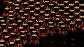 Brouwerijtransportband met plastic bierflessen stock footage