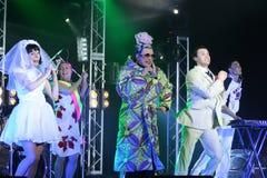Brovary, Ukraina, 31 03 2007 Popularnych Ukraińskich sławnych artiste Verka Serduchka, Andriy Danylko, wykonuje na scenie w Shopp zdjęcia royalty free
