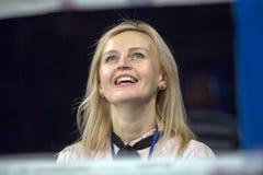 Brovary Ukraine, 14 11 2015 Porträt von Shaternikova, der Meister von Europa im Berufsverpacken lizenzfreies stockfoto