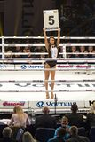 Brovary. Ukraine, 14.11.2015 Ring girl is in the center inside boxing ring with a plate. stock photo