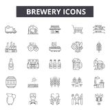 Browar kreskowe ikony dla sieci i wiszącej ozdoby Editable uderzenie znaki Browaru konturu pojęcia ilustracje ilustracji