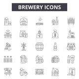 Browar kreskowe ikony, znaki, wektoru set, kontur ilustracji pojęcie ilustracja wektor