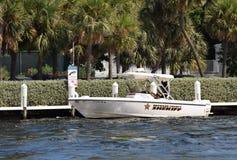Broward okręgu administracyjnego szeryfa milicyjna łódź Zdjęcia Stock