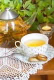 Browarniana herbata i osuszka na stole Zdjęcia Stock