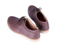 Brown überziehen Männer ` s Schuhe mit Leder, die auf weißem Hintergrund lokalisiert werden lizenzfreie stockfotos