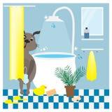 brown łaźni Michael zdjęcia razem r Illustrtation z psem w łazience Zdjęcia Royalty Free