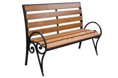 Brown ławka z metal ramą fotografia stock