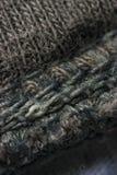 Brown ściegów wełny tkaniny wzór makro- Obrazy Royalty Free