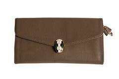Brown żeńska sprzęgłowa torba Zdjęcia Stock