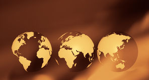 Brown abstract background travel world globe. World globe on abstract defocused background Royalty Free Stock Photo