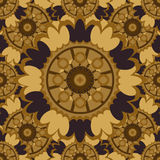 Brown abstract seamless pattern with round ornamental elements. Royalty Free Stock Photography