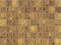 Brown abstrakcjonistyczny tło z stylizowanymi papugami ilustracja wektor