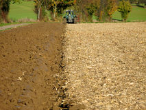 Brown Acre with Tractor Stock Photography