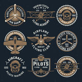 Brown Airplane Emblem Set Stock Image