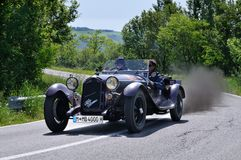 Brown Alfa Romeo 6c 1750 GS during 1000 Miglia Royalty Free Stock Images